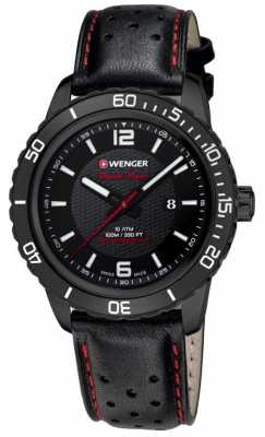Wenger Mens Roadster Black Dial Black Leather Strap 01.0851.123