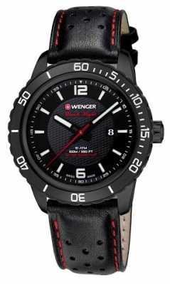 Wenger Mens Roadster Black Dial Black Leather Strap 01.0851.123