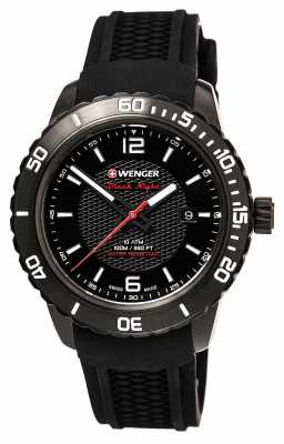 Wenger Mens Roadster Black With Unidirectional Rotating Bezel 01.0851.124