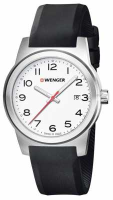 Wenger Mens Field White Dial Black Silicone Strap 01.0441.148