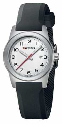 Wenger Womens Field White Dial Black Silicone Strap 01.0411.133