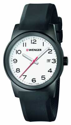Wenger Womens Field White Dial Black Silicone Strap 01.0411.135