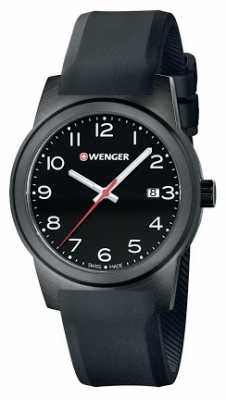 Wenger Mens Field Black Dial Black Silicone Strap 01.0441.151