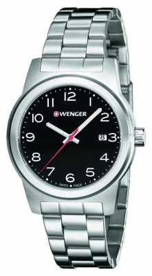 Wenger Mens Black Dial Stainless Steel Strap 01.0441.145