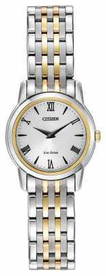 Citizen Womens Stiletto Two Tone White Dial EG3048-58A