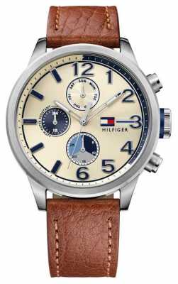 Tommy Hilfiger Mens Brown Leather Strap Cream Dial 1791239