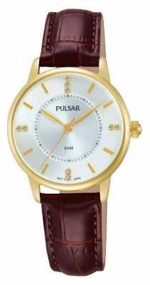 Pulsar Womens Silver Pattern Dial Brown Strap PH8182X1