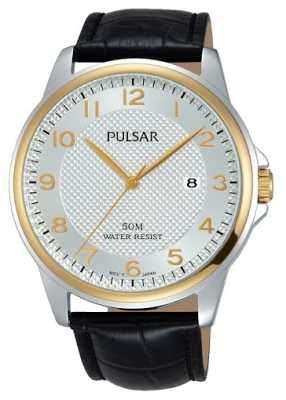 Pulsar Mens Black Leather Strap White Dial PS9444X1
