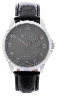 Pulsar Mens Black Leather Strap Silver Dial PS9447X1