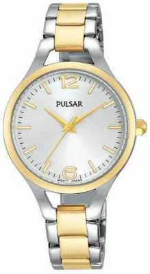 Pulsar Womens Two Tone Strap Round White Dial PH8186X1
