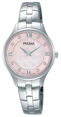 Pulsar Womens Round Pink Mother Of Pearl Dial PM2197X1