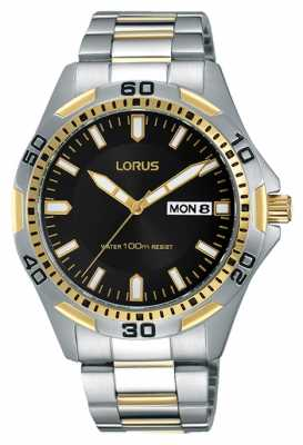 Lorus Mens Two Tone Strap Black Dial RXN20DX9