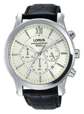 Lorus Mens Black Leather Strap Cream Dial RT347FX9