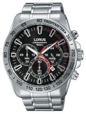 Lorus Mens Stainless Steel Strap Black Dial RT321FX9