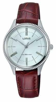 Lorus Mens Classic Brown Leather Strap White Dial RRS69VX9