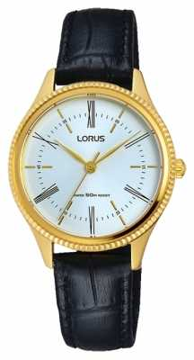 Lorus Mens Classic Black Leather Strap White Dial RRS68VX9