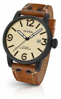 TW Steel Mens Brown Leather Strap Cream Dial TWMS41