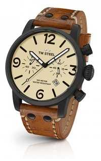 TW Steel Mens Brown Leather Strap Cream Chronograph TWMS43