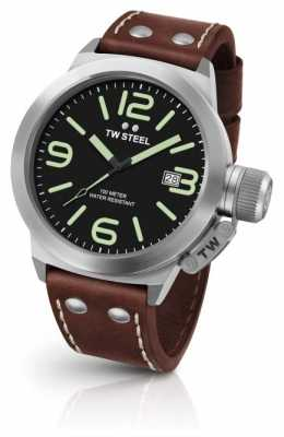 TW Steel Mens Black Dial Brown Leather Strap CS22