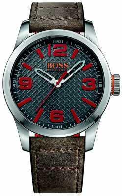Hugo Boss Orange Mens Paris Brown Leather Strap Grey Dial 1513351