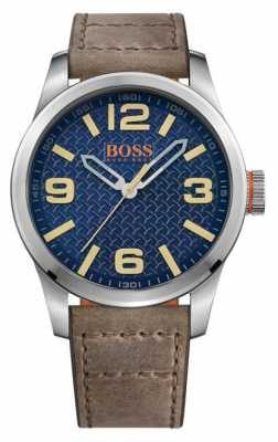 Hugo Boss Orange Mens Paris Brown Leather Strap Blue Dial 1513352