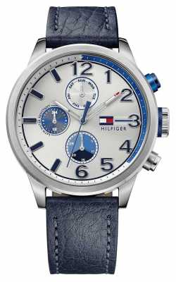Tommy Hilfiger Mens Jackson Blue Leather Strap Silver Dial 1791240