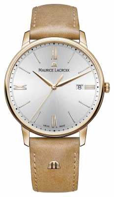 Maurice Lacroix Mens Silver Dial Light Brown Leather Strap EL1118-PVP01-111-2