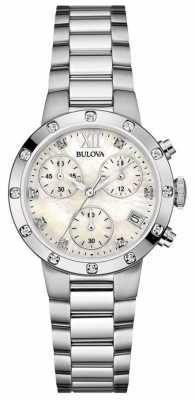 Bulova Womens Diamond Stainless Steel Chronograph 96W202