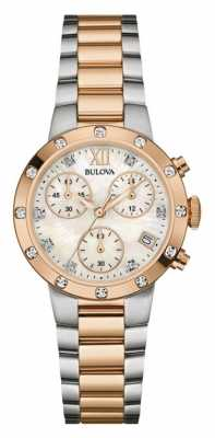 Bulova Womens Diamond Two Tone Chronograph 98W210
