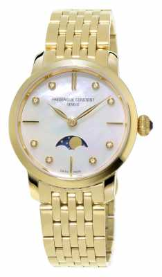 Frederique Constant Slimline Moonphase Womens Diamond Set Yellow Gold Plated FC-206MPWD1S5B