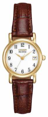 Citizen Womens Brown Leather Strap Strap Eco-Drive EW1272-01A