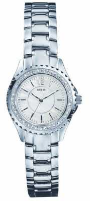 Guess Womens Mother of Pearl Dial Silver Steel Bracelet Watch I95273L1