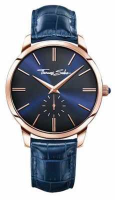 Thomas Sabo Mens Blue Leather Strap Blue Dial WA0212-270-209-42