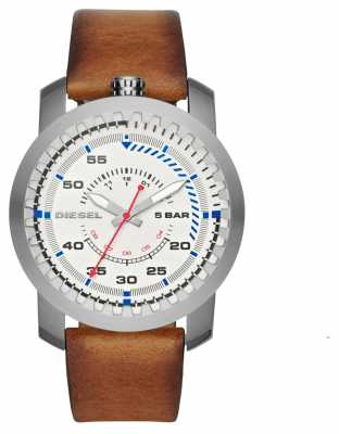 Diesel Mens Brown Strap Round White Dial DZ1749