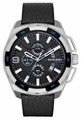Diesel Mens Black Leather Strap Round Black Dial DZ4392