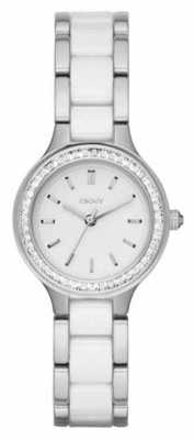 DKNY Womans Ceramic Steel Strap White Dial NY2494