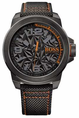 Hugo Boss Orange Mens Black Plated Strap Grey Pattern Dial 1513343
