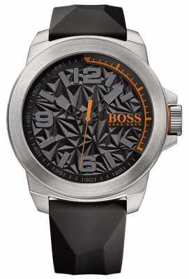 Hugo Boss Orange Mens Black Rubber Strap Grey Pattern Dial 1513345