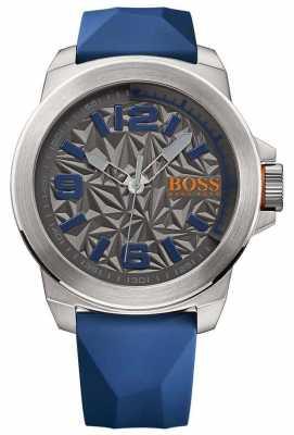 Hugo Boss Orange Mens Blue Rubber Strap Grey Pattern Dial 1513355