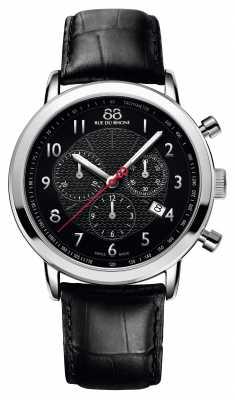 88 Rue du Rhone Mens Chronograph Black Leather Strap Black Dial 87WA120047