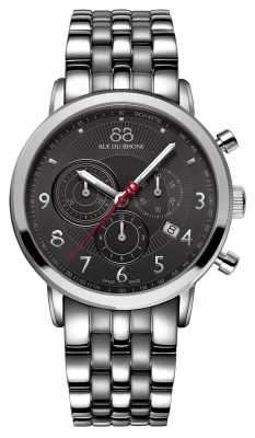 88 Rue du Rhone Mens Stainless Steel Chronograph Black Dial 87WA120055