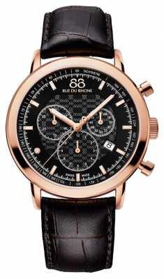 88 Rue du Rhone Mens Diamond Chronograph Brown Leather Strap 87WA154207