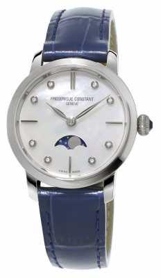 Frederique Constant Womens Slimline Moonphase Diamond Set Blue Leather Strap FC-206MPWD1S6