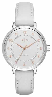 Armani Exchange Womens Stainless Steel Case Mink Strap Silver Dial AX5371