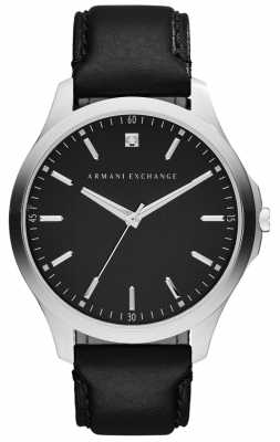 Armani Exchange Mens Black Leather Strap and Black Dial AX2182
