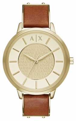 Armani Exchange Womens Gold PVD Plated Brown Leather AX5314