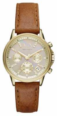 Armani Exchange Womens Chronograph Brown Leather Strap AX4334