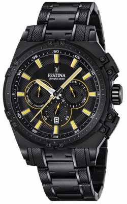 Festina 2016 Mens Chronograph Watch Black And Yellow F16969/3