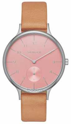 Skagen Womens Anita Brown Leather Strap Pink Dial SKW2406