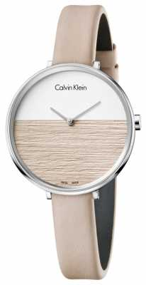 Calvin Klein Womens Rise Beige Leather Strap Beige Dial K7A231XH